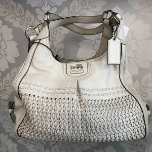 COACH Off White Woven Leather Shoulder Bag